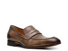 Santoni Burnished Leather Penny Loafer