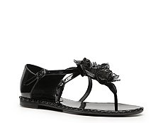 Bottega Veneta Patent Leather Rosette Flat Sandal