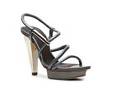 Calvin Klein Collection Kalista Metallic Patent Leather Slingback Sandal
