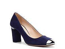 Prada Suede Metallic Cap Toe Pump