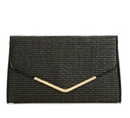 Poppie Jones Straw & Metallic Thread Clutch