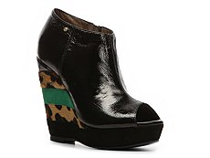 Just Cavalli Patent Leather Wedge Bootie