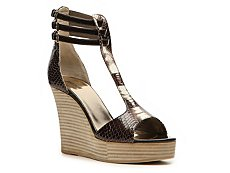 Just Cavalli Reptile Leather Wedge Sandal