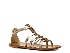 Just Cavalli Metallic Leather Gladiator Flat Sandal