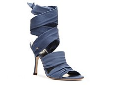 Just Cavalli Nubuck Leather Ankle Wrap Sandal