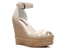Ralph Lauren Collection Firama Leather Wedge Sandal