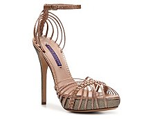 Ralph Lauren Collection Jen Metallic Reptile Leather Strappy Sandal