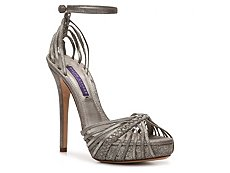 Ralph Lauren Collection Jen Metallic Suede Strappy Sandal