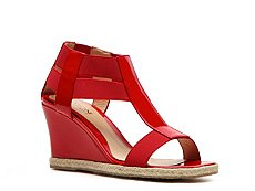 Rangoni by Amalfi Fabric & Patent Leather Wedge Sandal