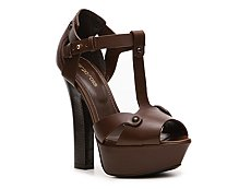 Sergio Rossi Leather Peep Toe Sandal