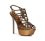 Sergio Rossi Metallic Leather Cutout Sandal