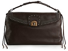 Sergio Rossi Large Leather Studded Shoulder Bag
