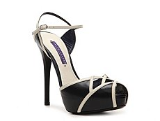 Ralph Lauren Collection Jena Leather Peep Toe Sandal