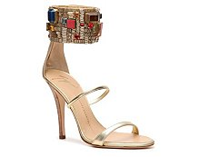 Giuseppe Zanotti Metallic Leather Ankle Wrap Sandal