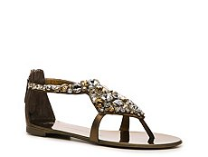 Giuseppe Zanotti Metallic Leather Embellished Flat Sandal