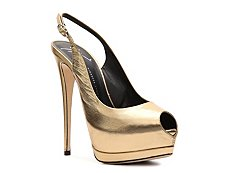 Giuseppe Zanotti Metallic Leather Peep Toe Pump