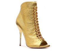 Giuseppe Zanotti Metallic Leather Peep Toe Bootie