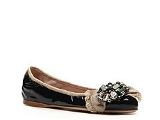 Miu Miu Patent Leather Crystal Ballet Flat
