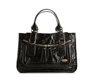 Chloe Patent Leather Oversize Zip Pocket Satchel