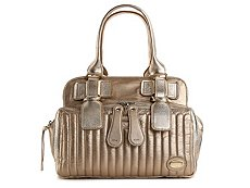 Chloe Metallic Leather Zip Pocket Satchel