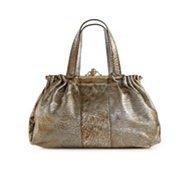 Roberto Cavalli Leather Push Lock Shoulder Bag