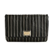 Dolce & Gabbana Leather Metallic Stripe Clutch