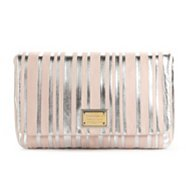 Dolce & Gabbana Leather Metallic Stripe Clutch