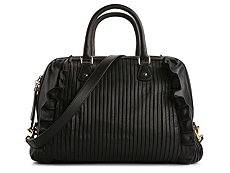 Dolce & Gabbana Leather Ribbed Ruffle Satchel