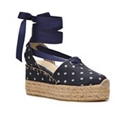 Ralph Lauren Collection Uma Printed Canvas Wedge Sandal