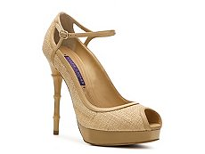 Ralph Lauren Collection Caitleen Straw Peep Toe Pump