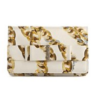 Roberto Cavalli Satin Bow Printed Clutch