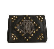 Roberto Cavalli Leather Branded Stud Clutch