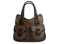 Tod's Leather Pocket Patent Trim Satchel