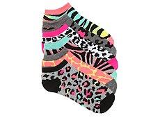 Mix No. 6 Neon Animal Print Womens No Show Socks - 6 Pack