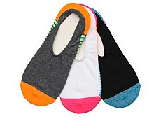 Converse Color Block Stripe Womens No Show Liners - 3 Pack
