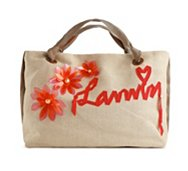 Lanvin Canvas Flower Embellished Tote Bag