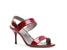 Sergio Rossi Patent Reptile Embossed Patent Leather Sandal