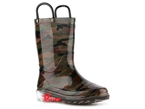 Western Chief Lighted Camo Boys Toddler & Youth Light-Up Rain Boot ...