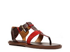 Final Sale - Ralph Lauren Collection Reesa Leather and Suede Flat Sandal