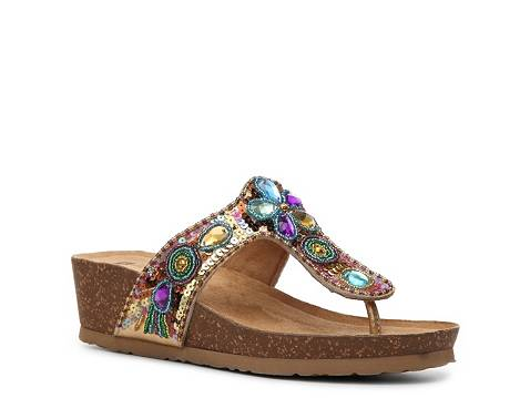 white mountain bubbly wedge sandal  dsw