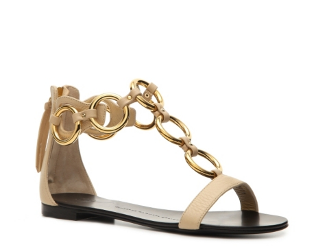 giuseppe zanotti gold chain flat sandals