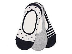 Sperry Top-Sider Dot Womens No Show Socks - 3 Pack