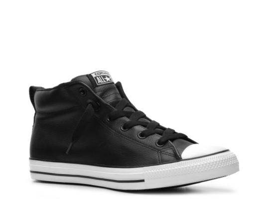 black leather converse mid