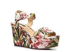Dolce & Gabbana Floral Fabric Wedge Sandal