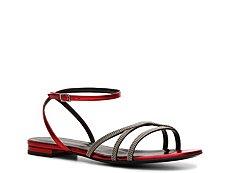 Saint Laurent Metallic Leather Flat Sandal