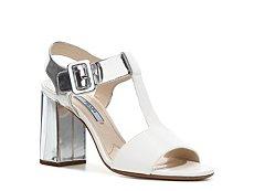 Prada Metallic Leather T-Strap Sandal