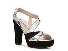 Prada Leather & Suede Metallic Sandal