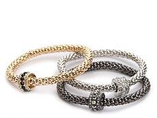 One Wink Gem Mixed Metal Stretch Bracelet Set