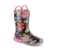 Western Chief Big Bloom Girls Toddler & Youth Light-Up Rain Boot
