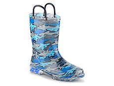 Western Chief Shark Chomp Boys Toddler & Youth Light-Up Rain Boot